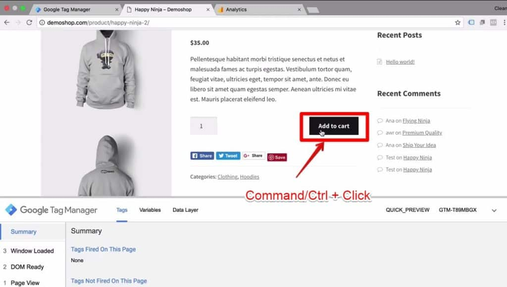 Screenshot of the Add to cart button being clicked