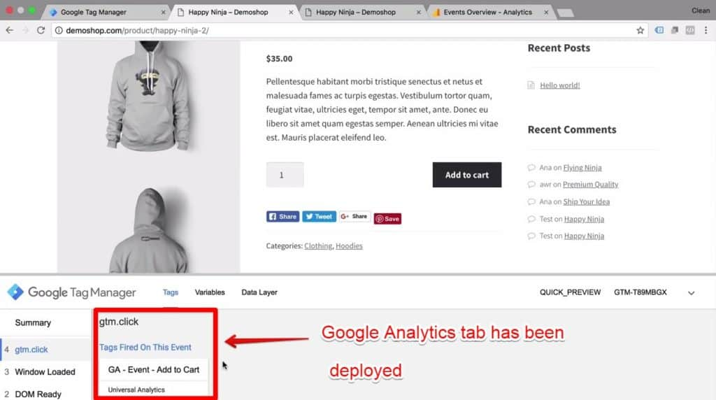 Screenshot of the Google Analytics tab being deployed on Google Tag Manager
