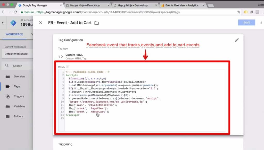 Screenshot of an html version of a Facebook event that tracks events and add to cart events