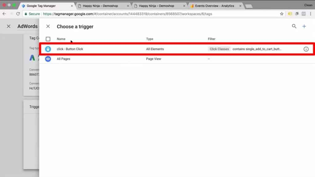 Screenshot for selecting a trigger for tracking the AdWords tag