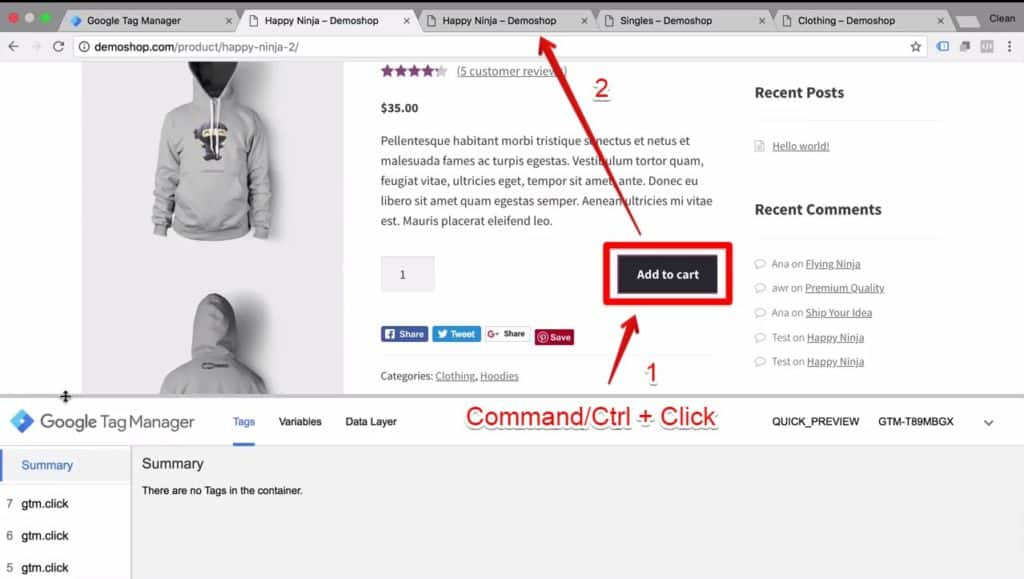 Screenshot of Demoshop's add to cart button being opened in another tab using the command/ctrl + click function