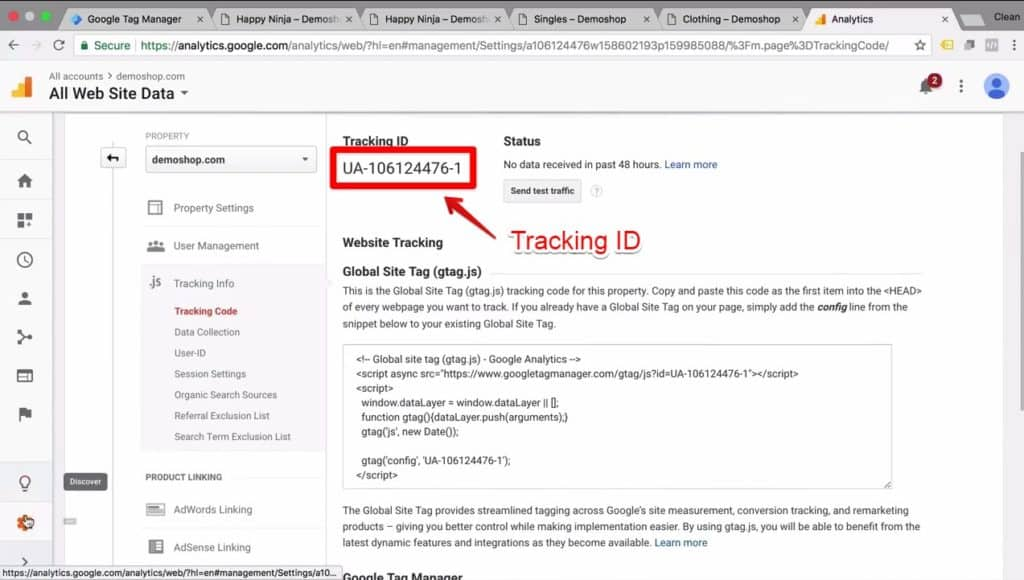 Screenshot of the Tracking ID section in Google Analytics' Admin section