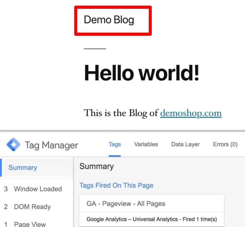 Website used for cross domain tracking- Demoblog.com