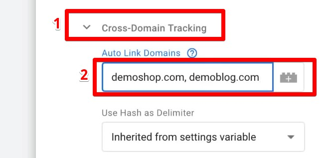 More Settings: Cross-Domain Tracking and Auto linking two domains