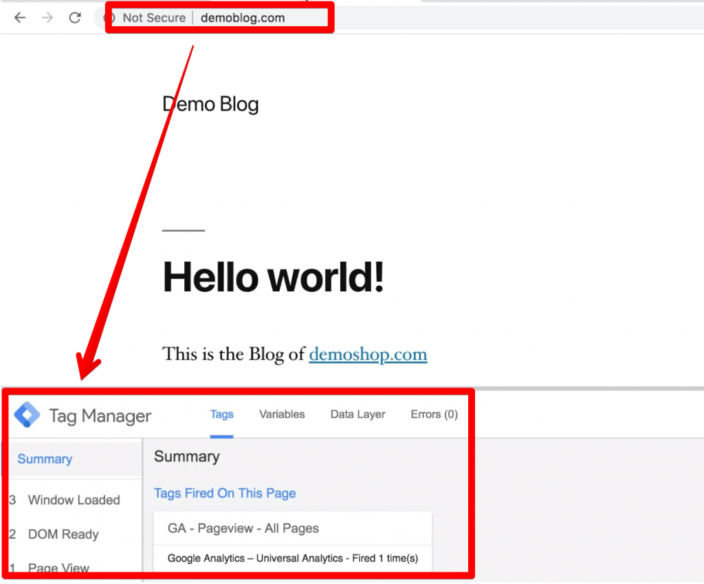 Second Website use for cross domain tracking- Demoblog.com Google Analytics and Google Tag Manager Installed