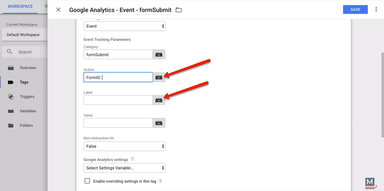 Google Analytics form tracking event tag with variables