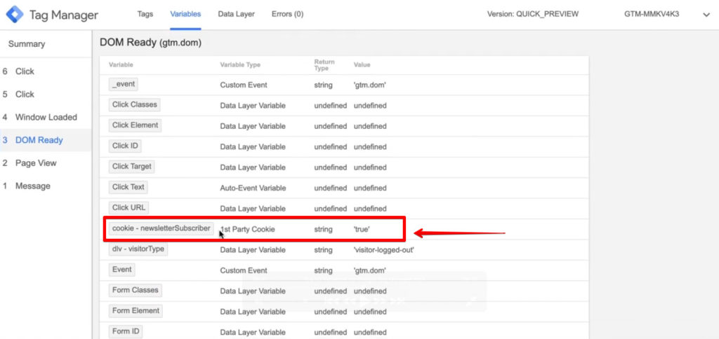 Screenshot of Google Tag Manager showing the Variables with the 1st Party Cookie Variable which is the newsletterSubscriber.