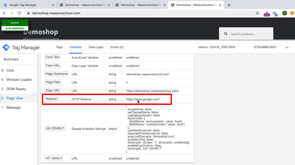 Screenshot of Google Tag Manager showing the variables with the Referrer Variable.