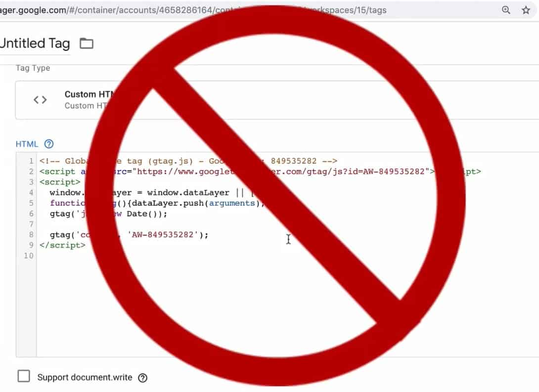 Global Site Tag should not be put into a custom HTML Tag of Google Tag Manager