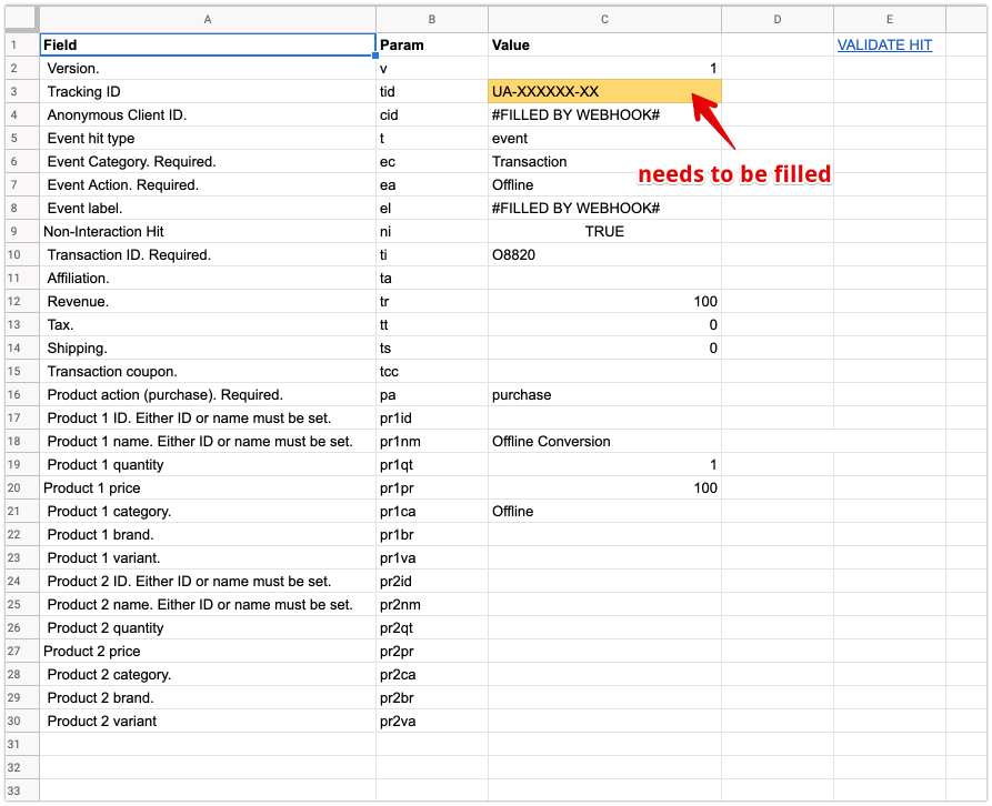 google sheets offline conversion data