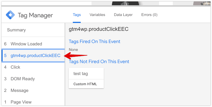 Google Tag Manager preview console with event gtm4wp.productClickEEC highlighted