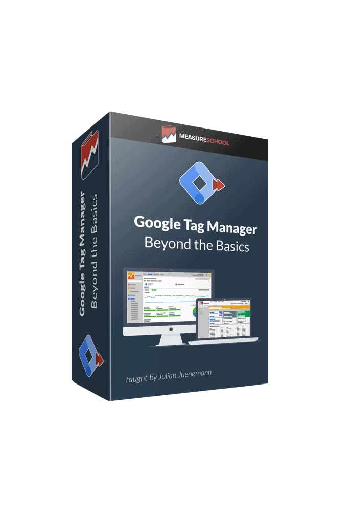 Product box shot of the Google Tag Manager Beyond the Basics course