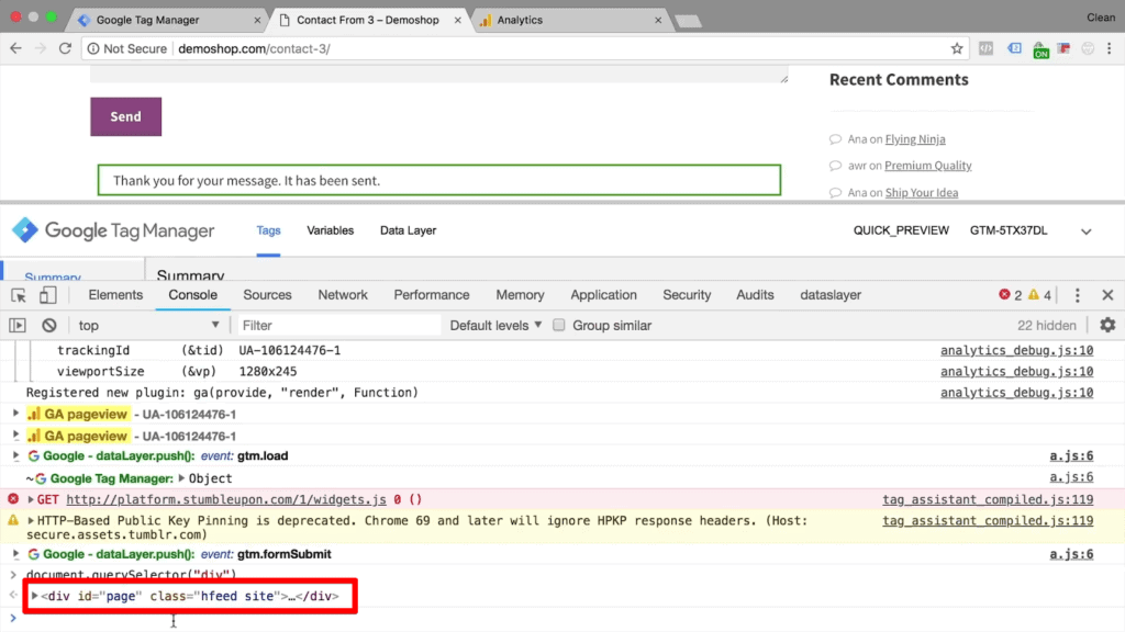 """Screenshot of Chrome Developer Tools highlighting selected CSS code """"hfeed site"""""""