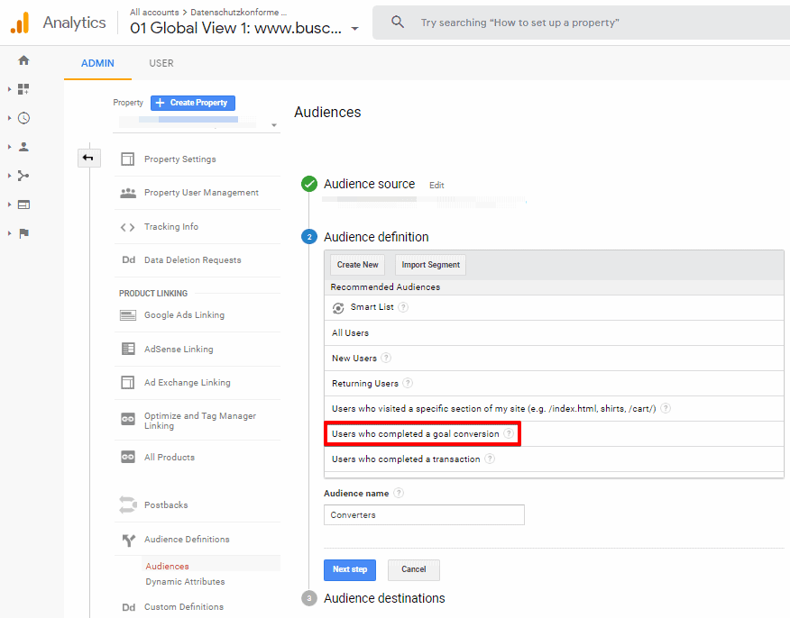 Screenshot of Google Analytics Audience definition configuration with Users who complete a goal conversion highlighted