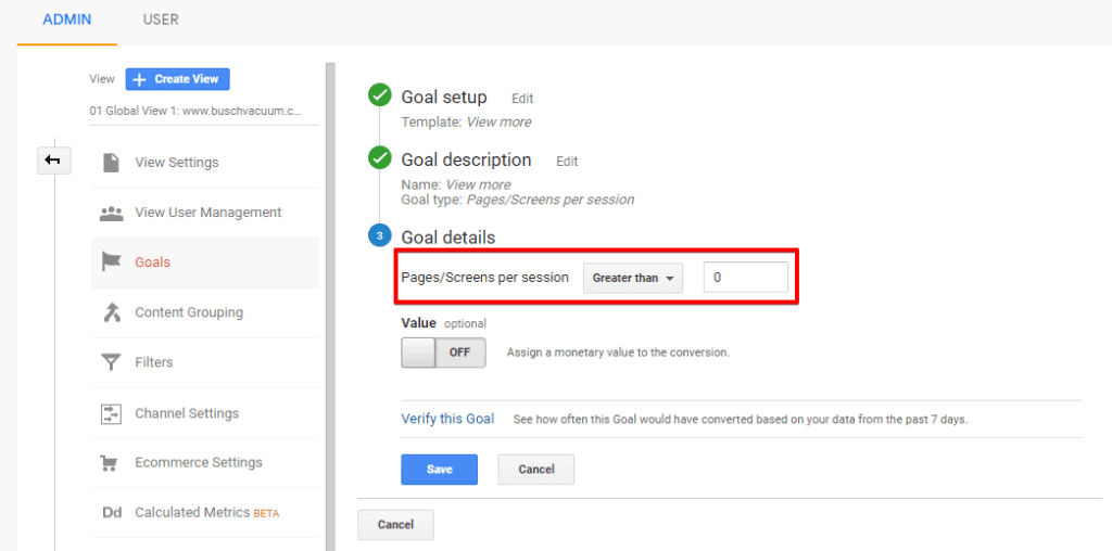 Screenshot of Google Analytics Goal details configuration with Pages/Screens per session settings highlighted