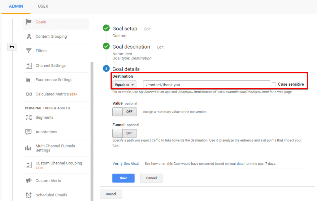 Screenshot of Google Analytics Goal details configuration with destination URL settings highlighted