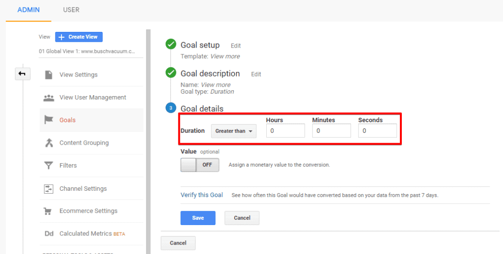 Screenshot of Google Analytics Goal details configuration with duration settings highlighted
