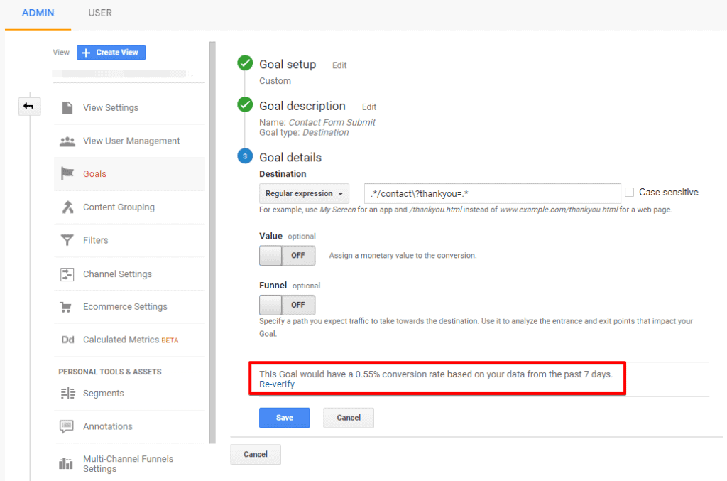 Screenshot of Google Analytics Goal details configuration with goal verification text highlighted