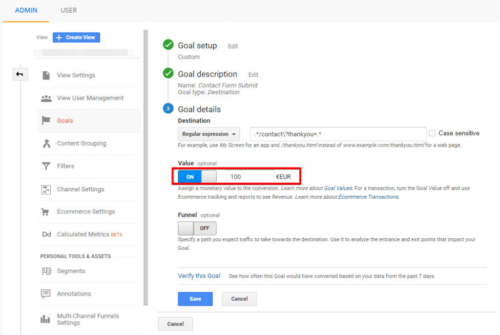 Screenshot of Google Analytics Goal details configuration with value toggle turned on and highlighted