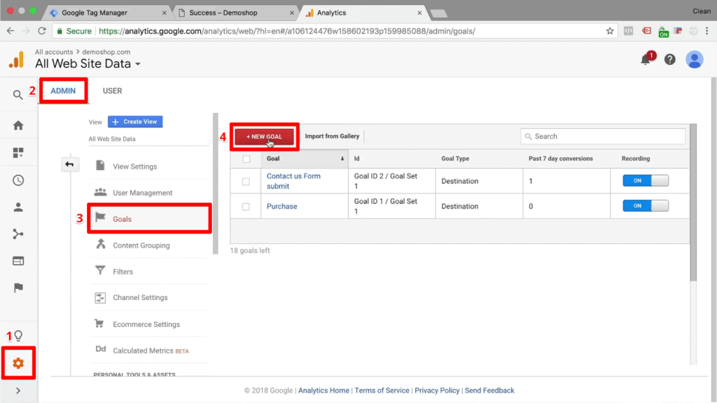 Screenshot of Google Analytics admin section and creating a new goal