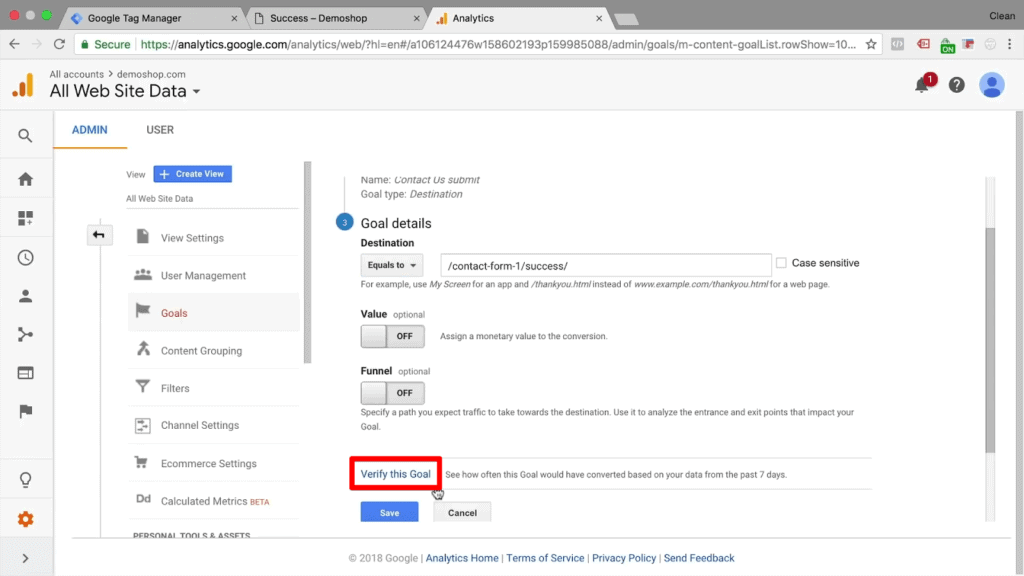 """Screenshot of Google Analytics goal page with goal details section filled, mouse hovering over button labeled """"Verify this Goal"""""""