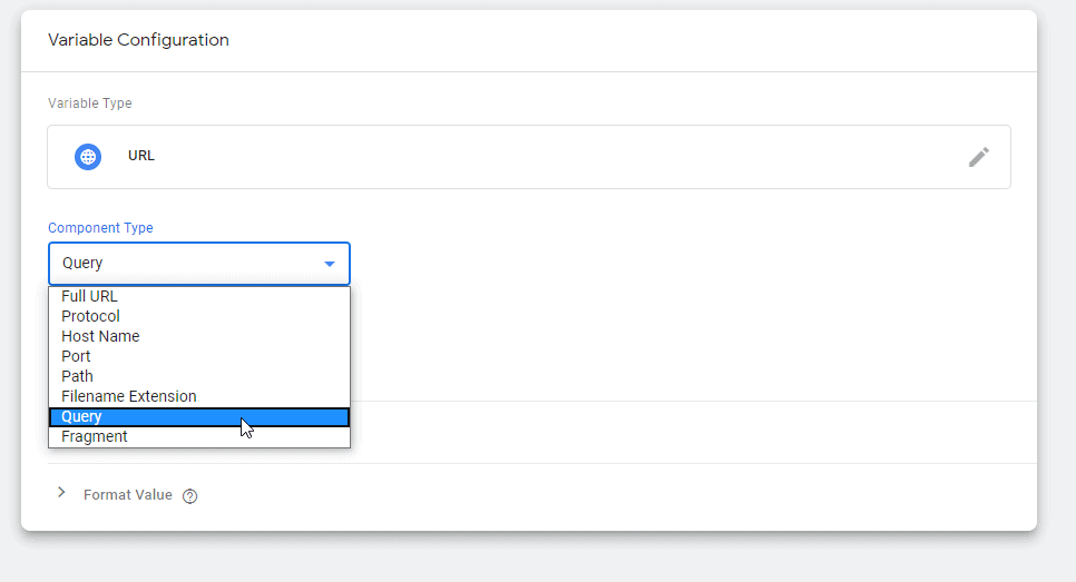Screenshot of Google Tag Manager showing the Component type dropdown in the variable Configuration