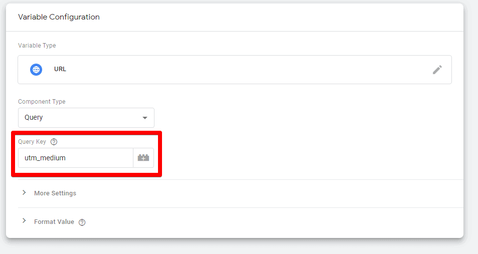 Screenshot of Google Tag Manager showing the Query Key field and utm_medium in the variable Configuration