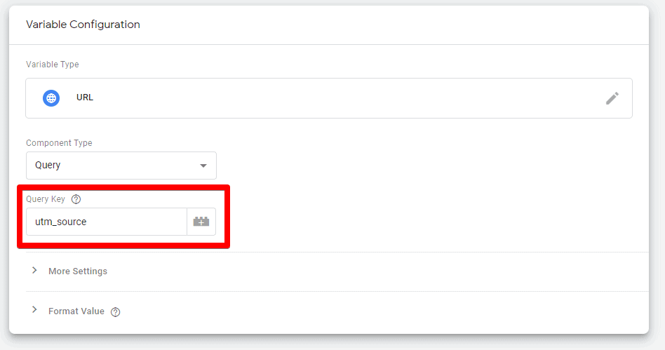 Screenshot of Google Tag Manager showing the Query Key field and utm_source in the variable Configuration