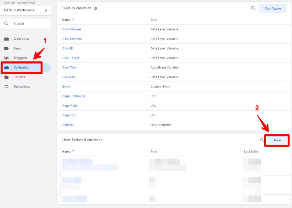 Screenshot of Google Tag Manager showing the variable overview screen