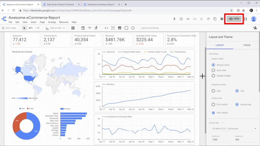 """Screenshot of a report in edit mode in Google Data Studio, with """"View"""" button highlighted"""