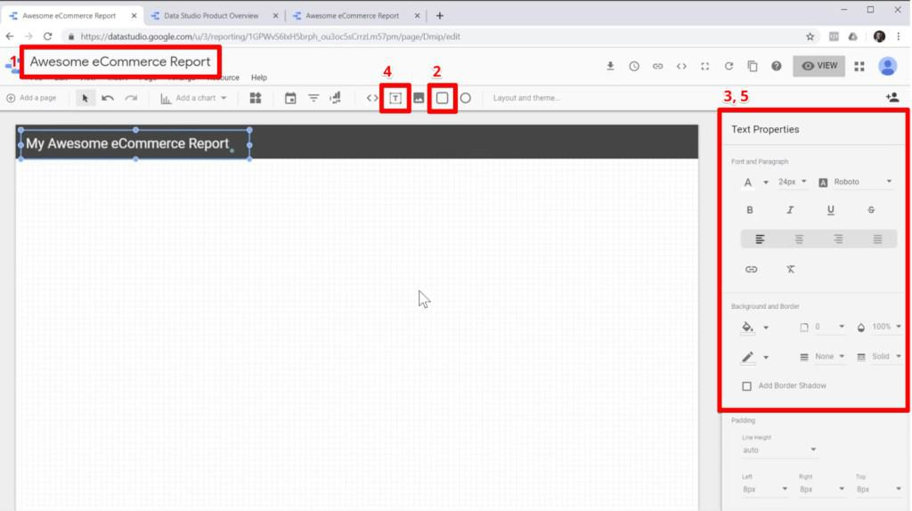 Screenshot of adding a name and header to a blank report in Google Data Studio