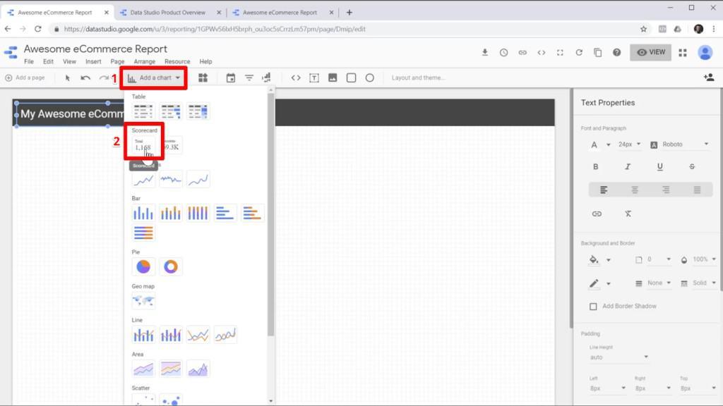 "Screenshot of adding a scorecard from ""Add a chart"" into a report in Google Data Studio"