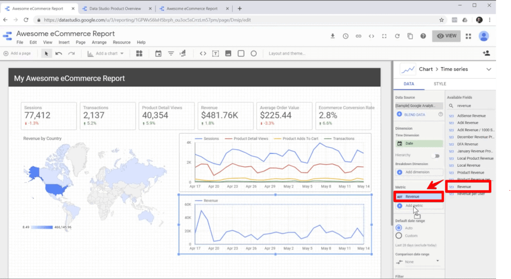 Screenshot of adding available field to chart metric in Google Data Studio