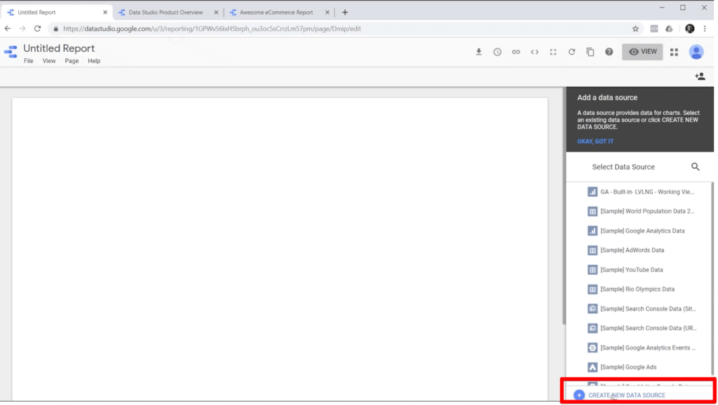 "Screenshot of blank report in Google Data Studio with ""Create New Data Source"" highlighted"