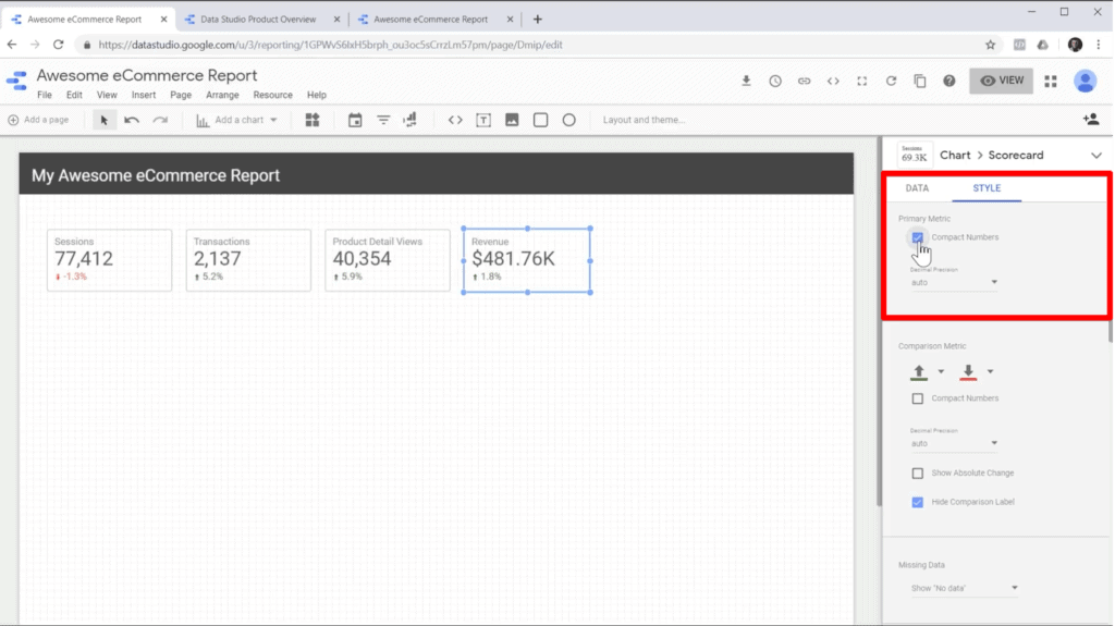 "Screenshot of checking ""Compact Numbers"" box in scorecard style sidebar in Google Data Studio"