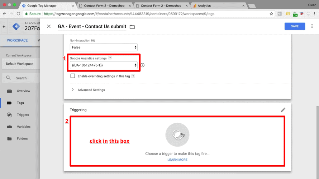 Screenshot of choosing Google Analytics settings and choosing a trigger to make the tag fire in tag configuration settings