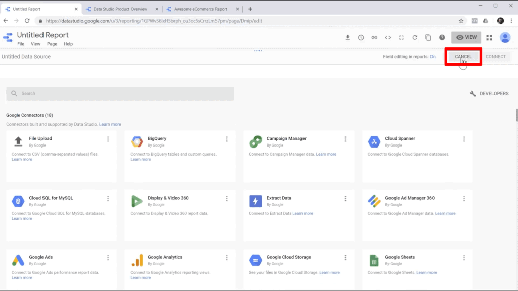 Screenshot of data sources available to connect to Google Data Studio