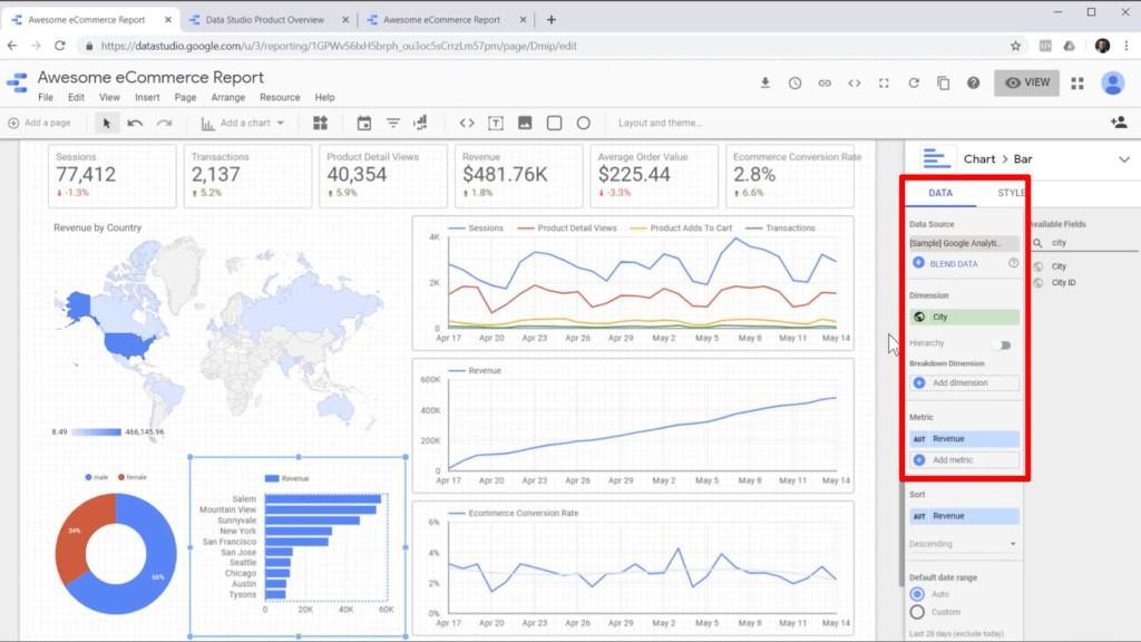 Screenshot of editing bar graph data in sidebar in Google Data Studio