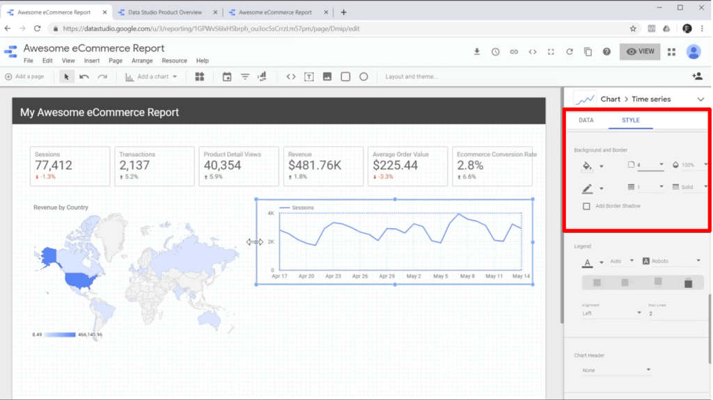 Screenshot of editing chart style in sidebar in Google Data Studio