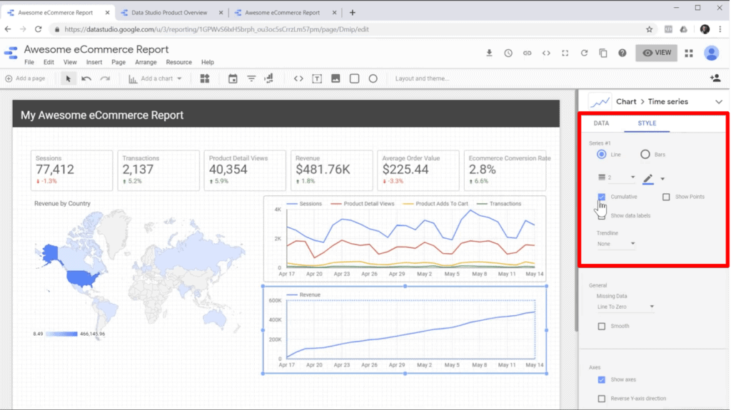 "Screenshot of editing chart style in sidebar in Google Data Studio to check ""Cumulative"" box"
