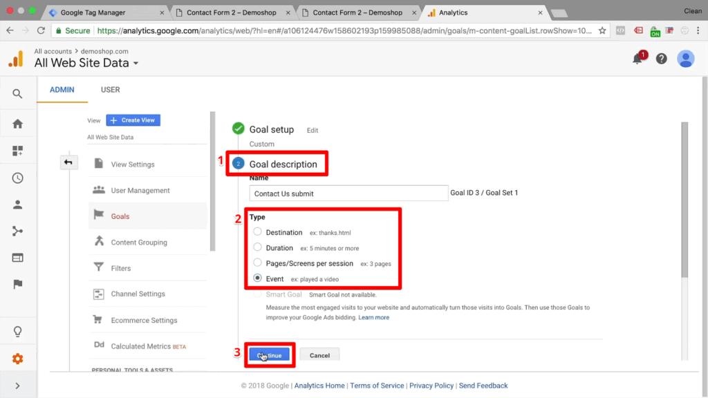 "Screenshot of editing goal description to an ""Event"" type"
