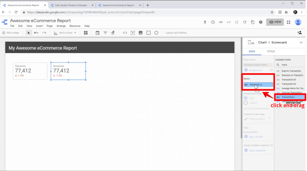 Screenshot of editing scorecard metric data in Google Data Studio by dragging and dropping available field