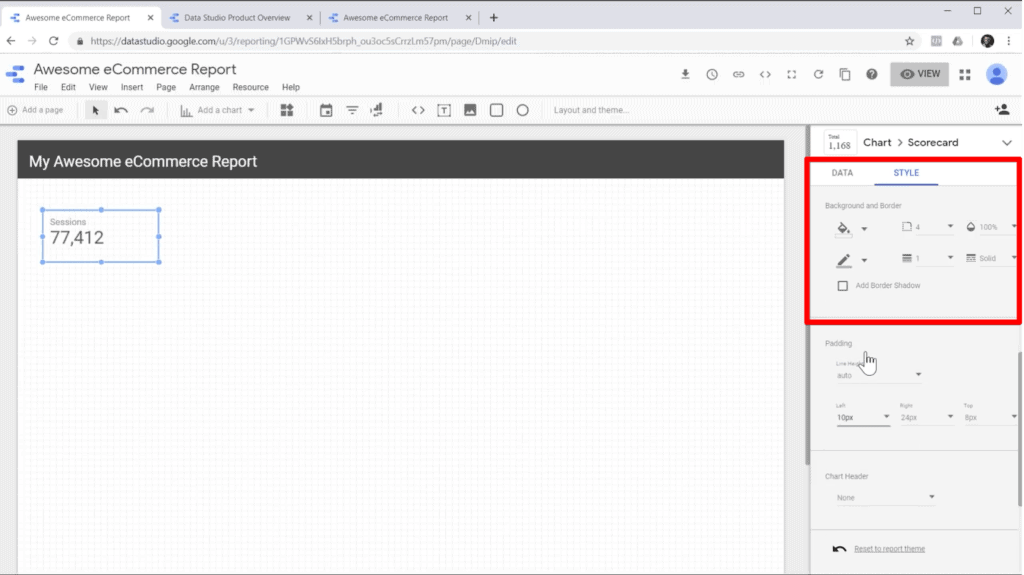 Screenshot of editing scorecard style in the sidebar of Google Data Studio