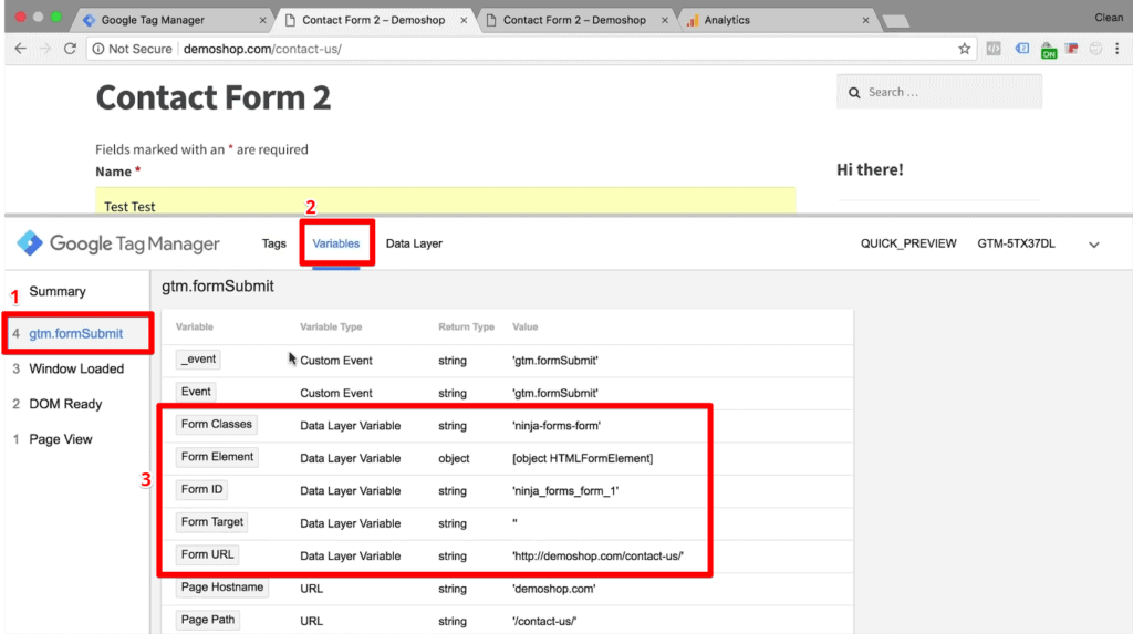 Screenshot of form variables for the form submission on Google Tag Manager extension