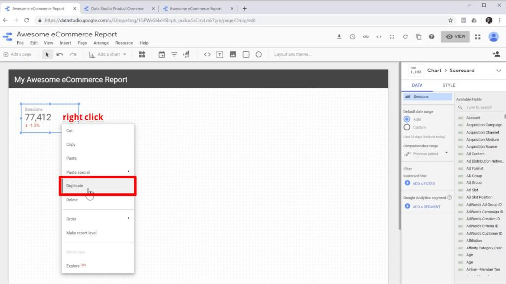 """Screenshot of mouse hovering over """"Duplicate"""" option in right-click menu of scorecard element in Google Data Studio"""