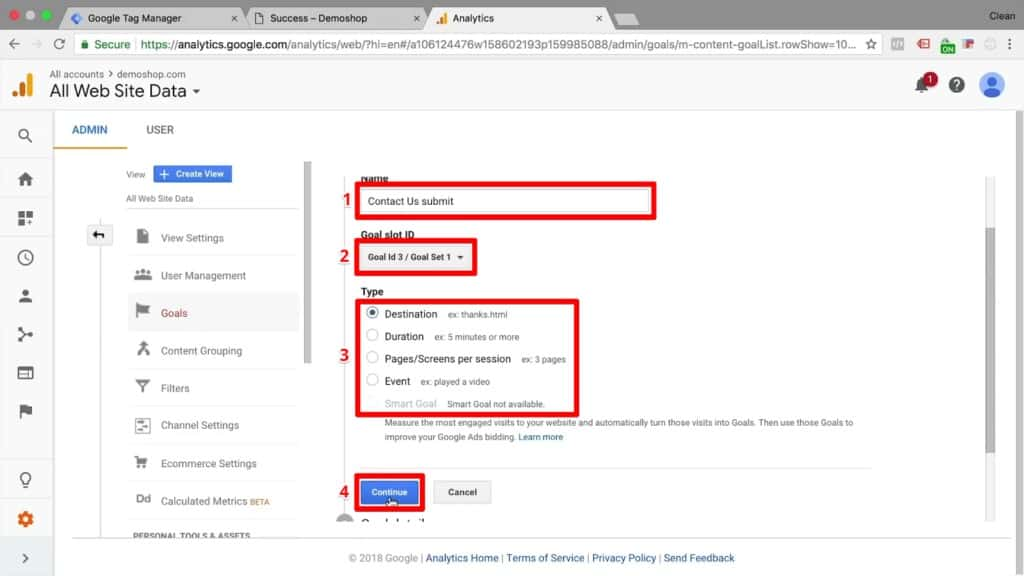 Screenshot of naming a new goal, choosing a goal slot ID, and choosing a goal type in Google Analytics
