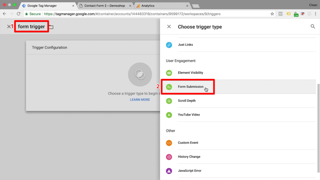"""Screenshot of naming new form trigger and choosing """"Form Submission"""" as the trigger type"""