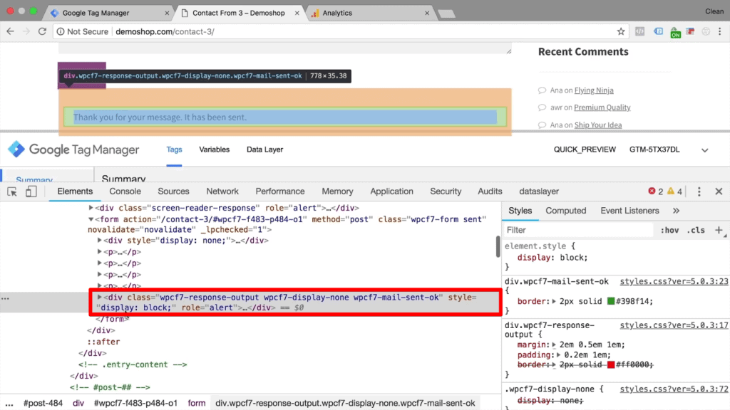 Screenshot of new div class CSS code with highlighted page text element