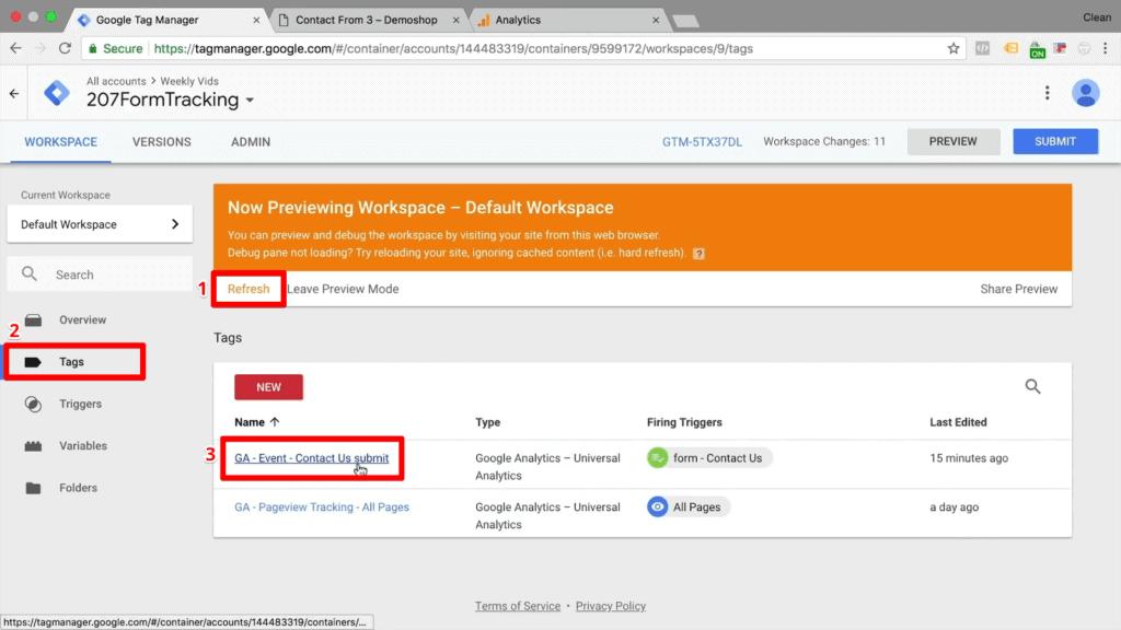 Screenshot of refreshing Google Tag Manager and selecting existing tag