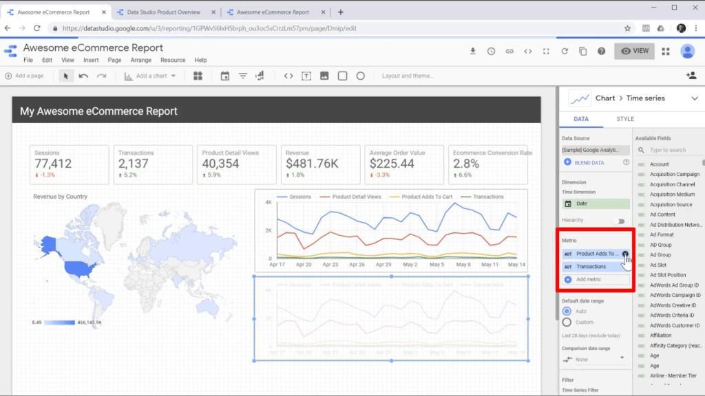 Screenshot of removing metrics from chart data in Google Data Studio